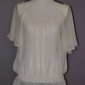 H&M Sheer Flutter Sleeve Cream Blouse sz M